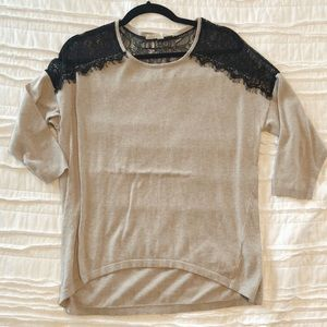 LC sweater with black lace detail